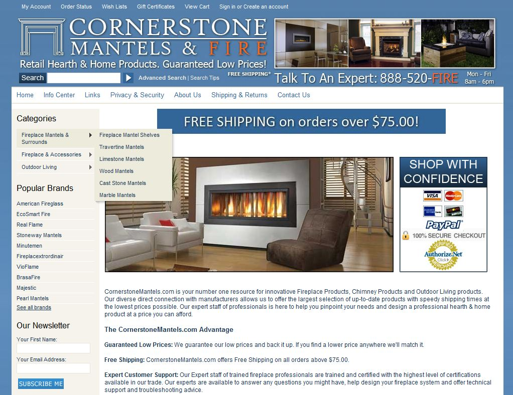 cornerstonemantels com rated 4 5 stars by 33 consumers