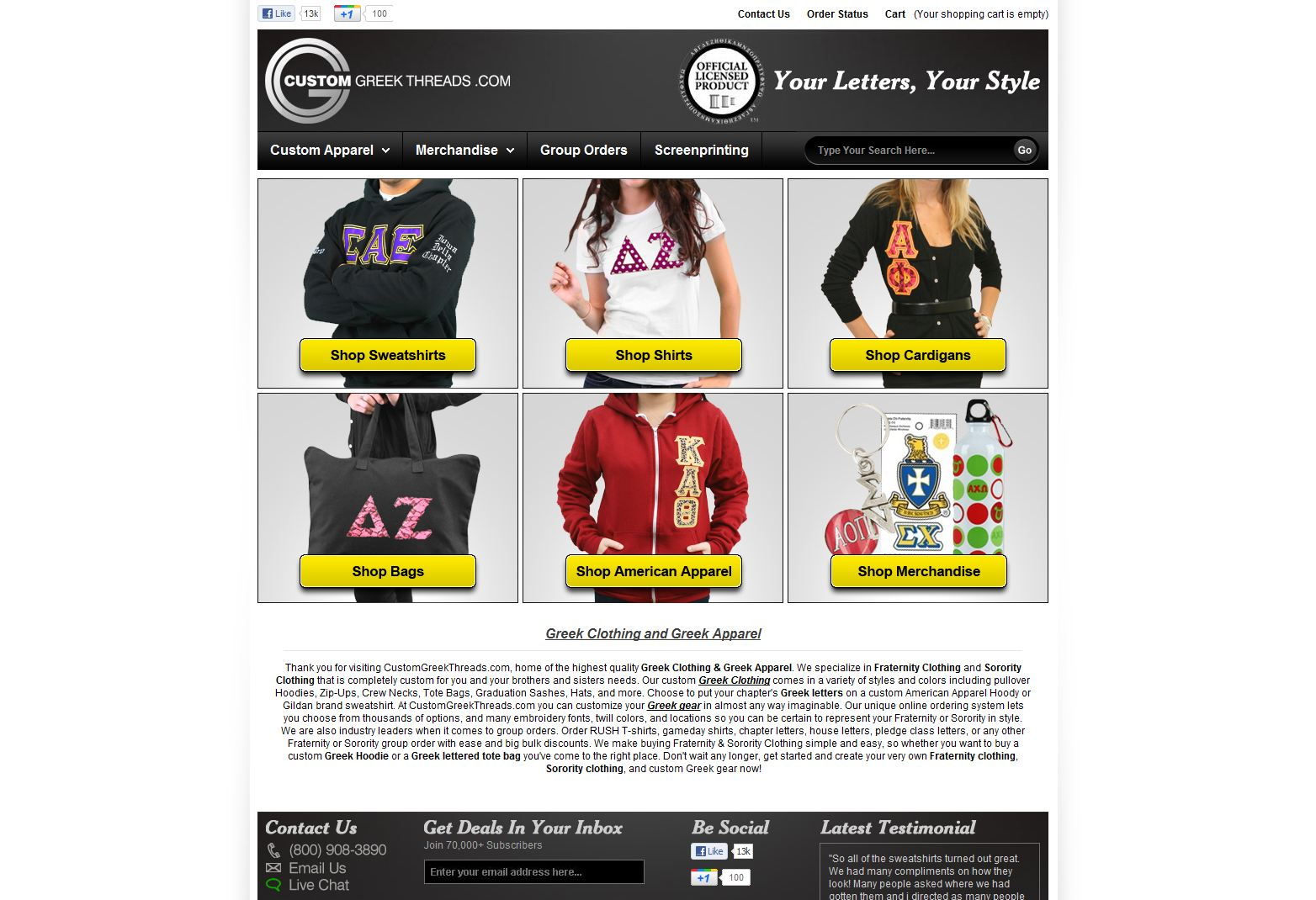 Custom Greek Store Affordable Custom Clothing. Crew Neck T-Shirt with Triple Color Inch Greek Letters.