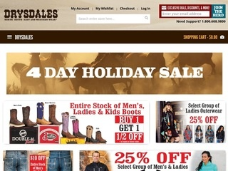 Drysdales offers an impressive selection of Western apparel, boots, hats, accessories, housewares, and more for men, women, and children. They carry items from brands like Justin Boots, Wrangler, and Stetson. You can find the best collection of affordable items and gifts for any cowboy or cowgirl.