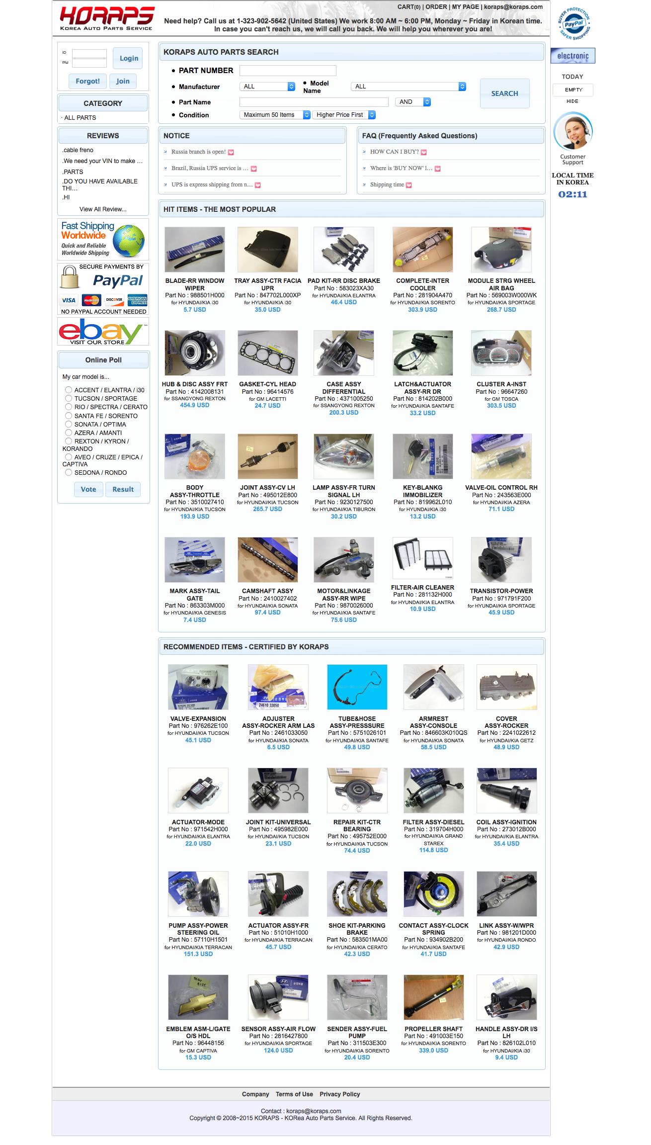 Korea Auto Parts Service Reviews | 4 Reviews of Koraps com